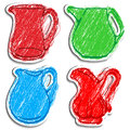 A set of  icons of carafes. Royalty Free Stock Photo
