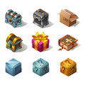 Set of icons cartoon isometric boxes and objects for game. Vector illustration.