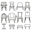 Set icons of chairs and stools.