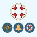 Set icons with colored bell lifebuoy ship wheel vector illustration round colorful Stock Photos