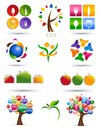 Set of icons colorful graphic illustration over white Stock Images