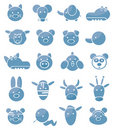 Set of icons, cute animals Royalty Free Stock Images