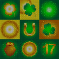 Set of icons on the day of St. Patrick. Image of small round shapes.Glowing symbols of the holiday.Leaf clover and glowing circles Royalty Free Stock Photo
