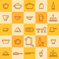Set of icons of different types of cookware on a colored background Stock Photo