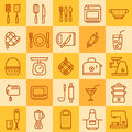 Set of icons of different types of cookware on a colored background bright color Stock Image
