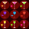 Set of icons with drinks