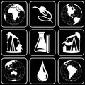 Set of icons (earth, oil, minerals, energy) Stock Images