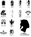 Set icons egypt set ancient frescos egyptian themes your project Stock Images