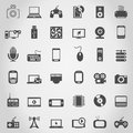 Set of icons of electronics a vector illustration Stock Photos