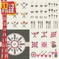 Set of icons and elements for restaurants food an drink special offer in package Stock Photo
