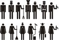 Set of icons of figure people job occupation silhouette vector illustration Royalty Free Stock Images