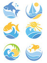 A set of icons - of fish and sea Stock Photo