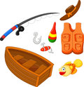 Set icons fishing equipment illustration