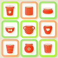 Set of icons with flower pots different eps Royalty Free Stock Images