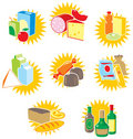 Set of icons with food and drinks Stock Image