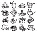 Set icons food vector illustration authors in Royalty Free Stock Images