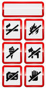 Set of icons forbidding smoking, fire, dog etc. Stock Images