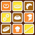 Set of icons of fresh bread and pastry retro eps Royalty Free Stock Photos