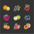 Set icons fruits and berries of Stock Images