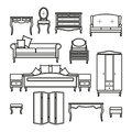 Set of icons of furniture for the bedroom.