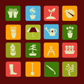 Set icons of gardening and spring related items. Royalty Free Stock Photo