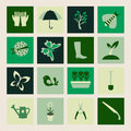 Set icons of Gardening and spring symbols