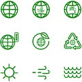 Set icons of the globe and earth related outline