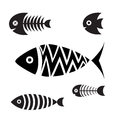 Set of icons of graphic fish Royalty Free Stock Images