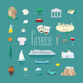 Set of icons with Greek landmarks in vector