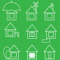 Set of icons green color Royalty Free Stock Photos