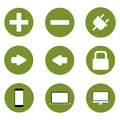 Set of icons, green technological progress background