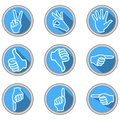 A set of icons with hand gestures in modern flat design with long shadow