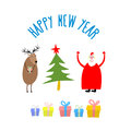 Set icons for happy christmas and new year christmas tree and santa claus reindeer gifts vector illustration Stock Photos