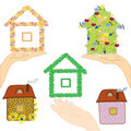 Set of icons with houses Stock Photo