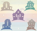Set of icons houses vector illustration silhouette vintage Royalty Free Stock Photo
