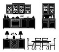 Set of icons of kitchen furniture Stock Images