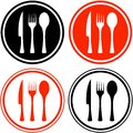 Set icons with kitchen utensil red and black Royalty Free Stock Images
