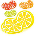 Set of icons - lemon, lime, grapefruit, orange, Royalty Free Stock Images