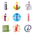 Set of Icons and Logo Elements Letter I Stock Photos