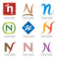 Set of Icons and Logo Elements Letter N Royalty Free Stock Photos