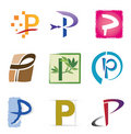 Set of Icons and Logo Elements Letter P Stock Photo