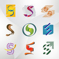 Set of Icons and Logo Elements Letter S Stock Image