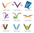 Set of Icons and Logo Elements Letter V Royalty Free Stock Image