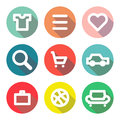 Set of icons with long shadow for web design vector