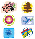 Set of Icons Lotus Flower for Logo Designs Royalty Free Stock Image