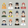 Set of icons of male profession for women vector eps app flat with man different professions Stock Photography