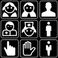 Set of icons (medicine, smiles, hands) Royalty Free Stock Images