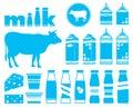 Set icons of milk Royalty Free Stock Image