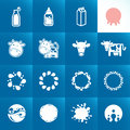 Set of icons for milk abstract shapes and elements Stock Image