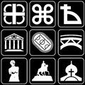 Set of icons (monuments, ancient) Royalty Free Stock Photos